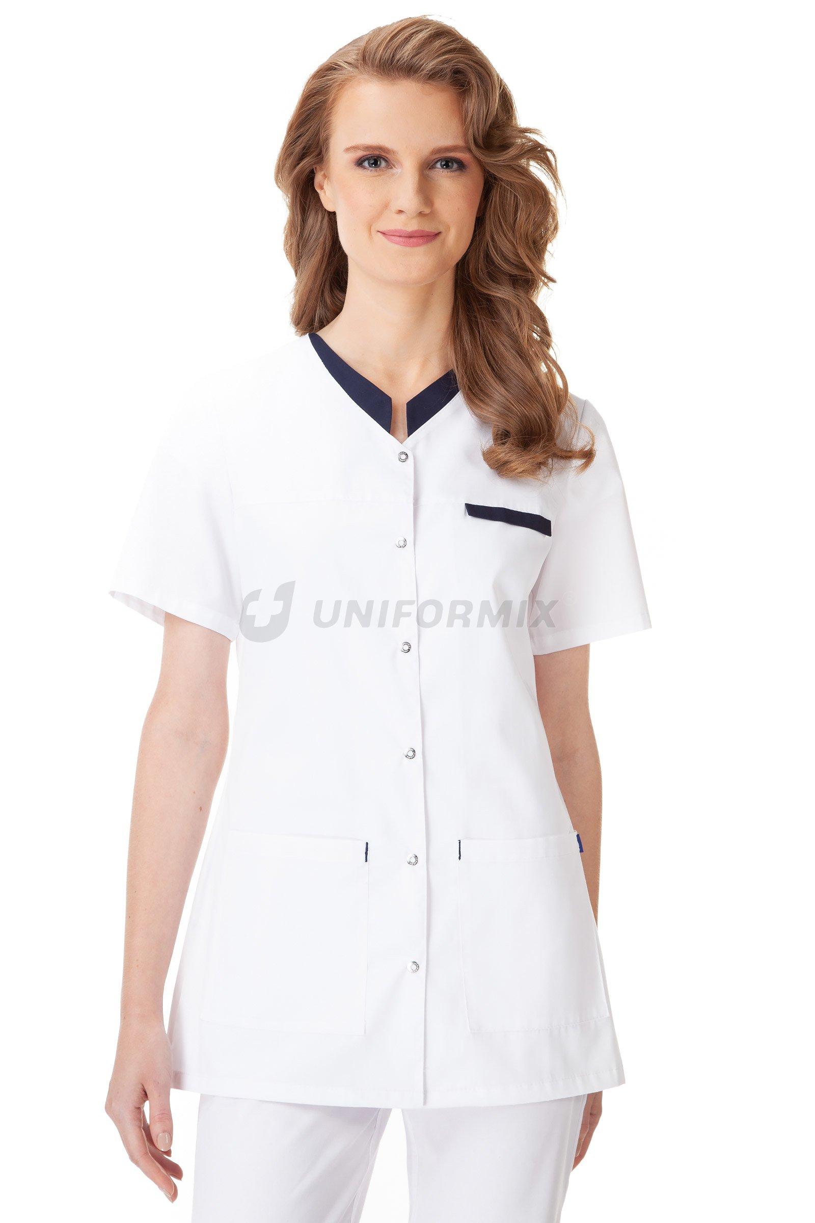 339a94534 Dámská Halena Uniformix. UN2044 bílý/tmavomodrý | Zdravotnické oděvy ...