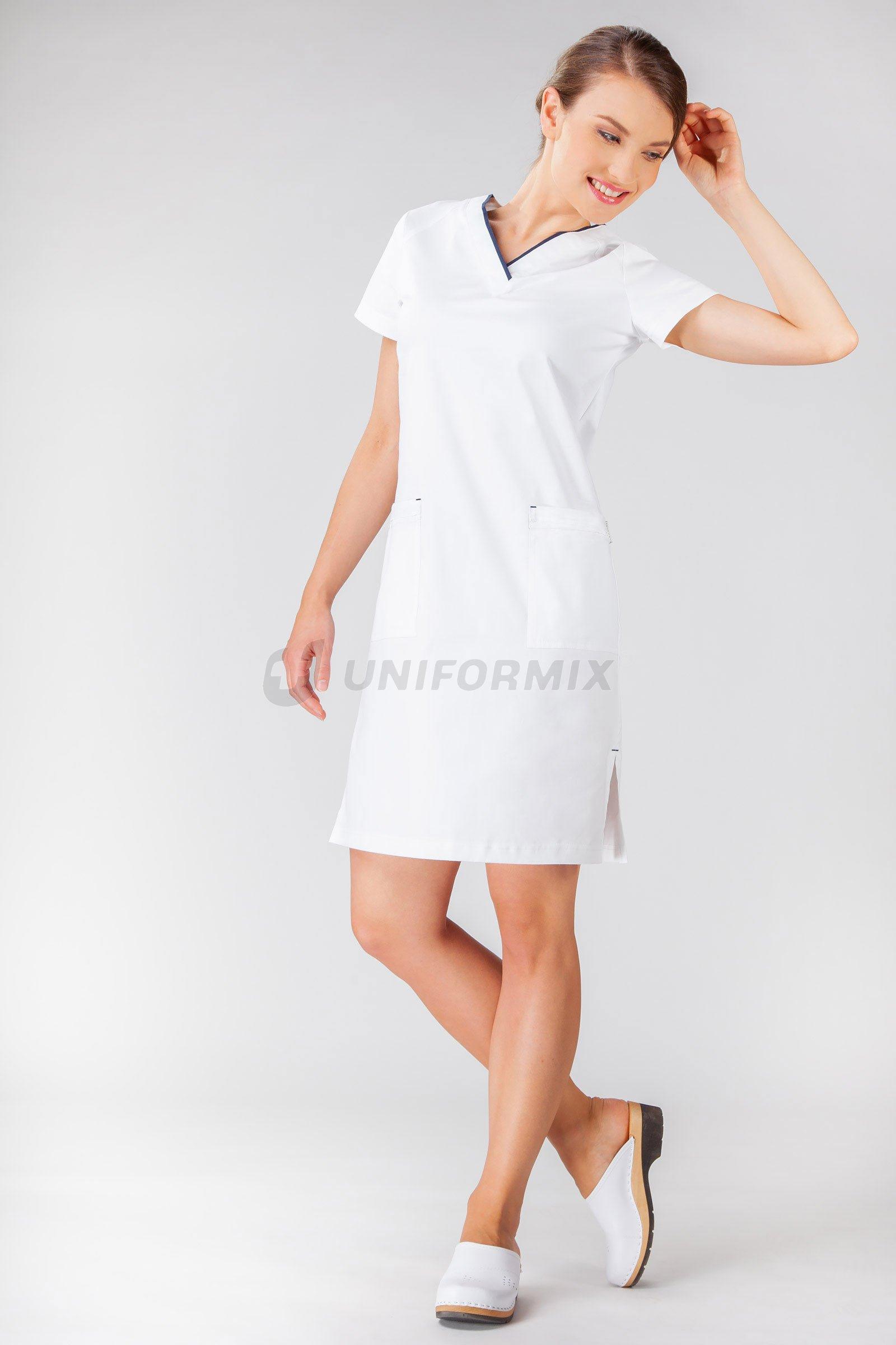 61f835f8c Dámské šaty FLEX ZONE FZ2052 bílý/tmavomodrý - Uniformix